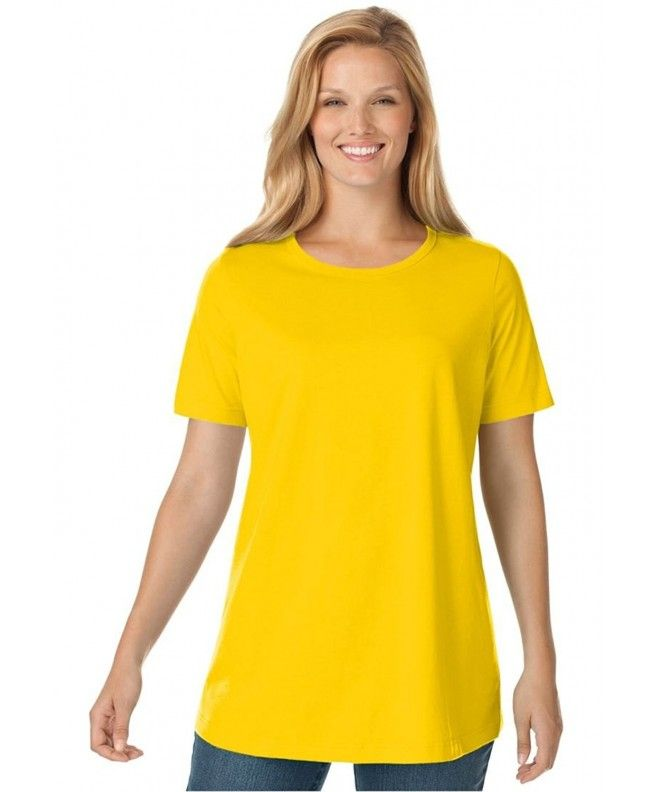a916fef5 Women's Plus Size Top- Perfect Crewneck Tee In Soft Cotton Knit - Mango  Glow - CY12OBEOHCL,Women's Clothing, Tops & Tees, Knits & Tees #Tops #Tees # Tshirts ...