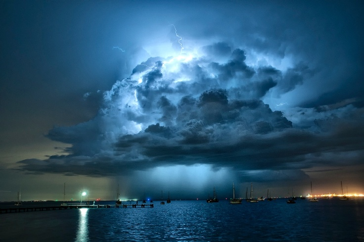 imposing storm cell crackling with lightning over Geelong's Corio Bay was captured by a local photographer, James Collier