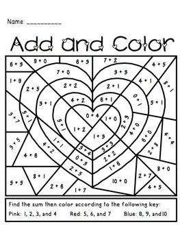 Valentine's Day Add and Color Activity - perfect for K or 1st grade. Fun holiday math center.