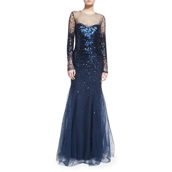 Monique Lhuillier Long-Sleeve Degrade Sequin Illusion Gown ($6,915) ❤ liked on Polyvore featuring dresses, gowns, navy, navy blue dress, long sleeve gown, long evening dresses, long sleeve evening gowns and sequin gown