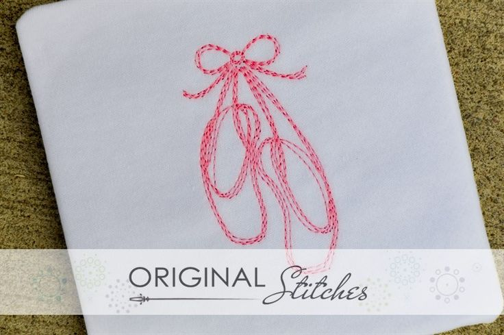 Ballet Pointe Shoes - Quick Stitch, Machine Embroidery and Applique Designs Downloads | Original Stitches - Embroidery and Applique Design Store