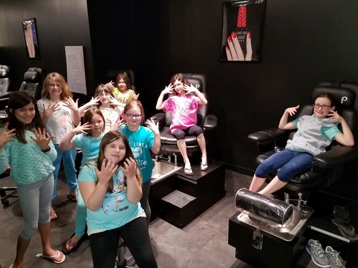 Girl Scout spa day at a local nail salon academy.