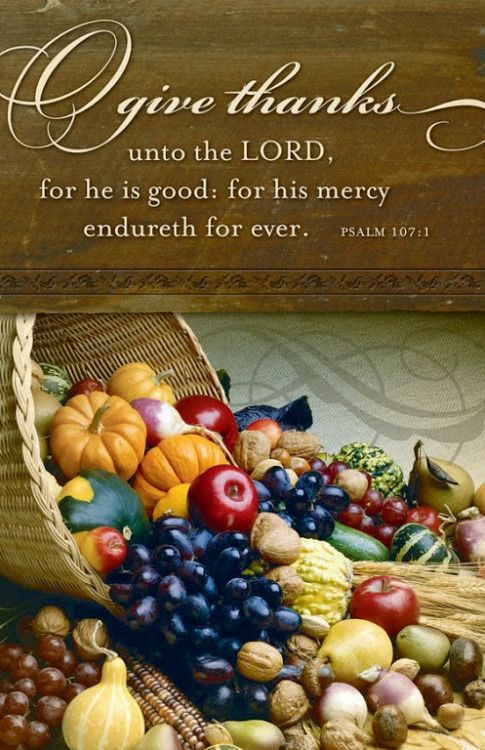 Psalm 107:1 (KJV) - O give thanks unto the LORD, for He is good: for His mercy endureth for ever.