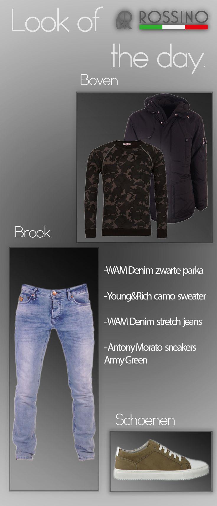 De winter komt er weer aan, vandaar deze heerlijk warme heren outfit! Met een lange parka van WAM Denim, een camo trui, stretch jeans en matchende sneakers van Antony Morato