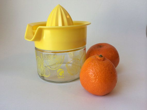Vintage Yellow Plastic and Glass Juicer Retro by JuniperLaneShop, $10.00