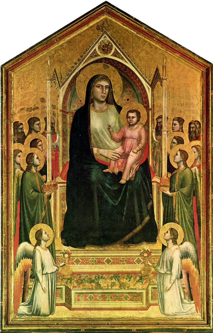 GIOTTO, Maestà di Ognissanti, 1310 Originariamente nella Chiesa di Ognissanti,  Ora agli Uffizi dipinto a tempera e oro su tavola