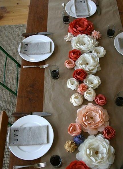 paper flower centerpiece: Ideas, Tables Sets, Paper Flowers Centerpieces, Napkins, Kraft Paper, Dinners Parties, Tables Runners, Table Runners, Fabrics Flowers