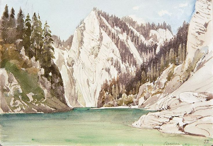 Les Pieniny avec la rivière Dunajec, aquarelle de Thomas Ender (1793-1875, Austria)