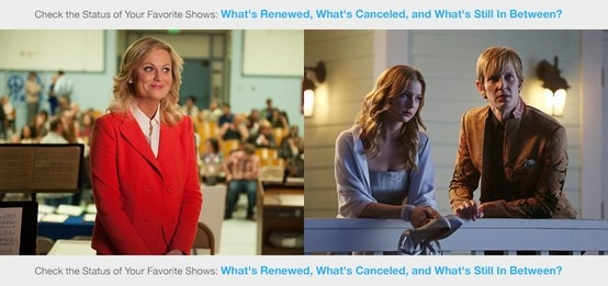 What's Renewed, What's Canceled, and What's Still In Between? (2013 Edition) http://www.tv.com/news/whats-renewed-whats-canceled-and-whats-still-in-between-2013-edition-136682993611/