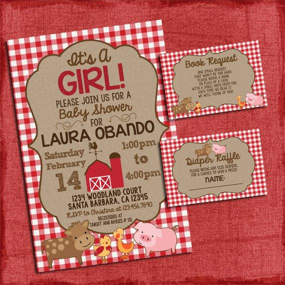 Farm Baby Shower Invitation Set with Diaper Raffle by PuzzlePrints