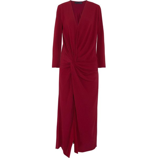 Maria Grachvogel Selkham gathered crepe midi dress ($570) ❤ liked on Polyvore featuring dresses, claret, red loose dress, red dress, midi day dresses, front slit dress and loose fitting dresses