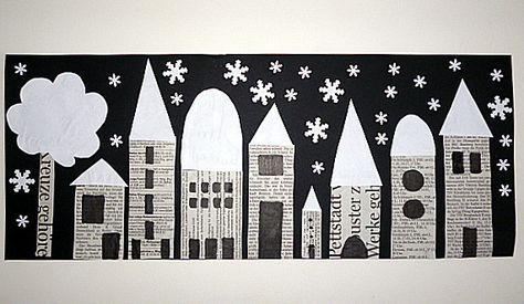 Stadt aus Zeitungspapier Winter