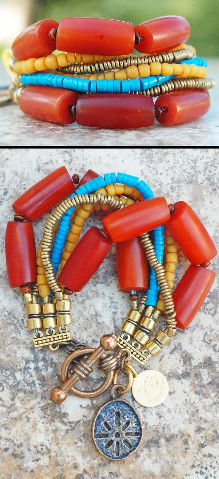 Bali Bracelet: Amber Resin, Turquoise, Yellow, Brass and Bronze Sun Charm Bracelet $150