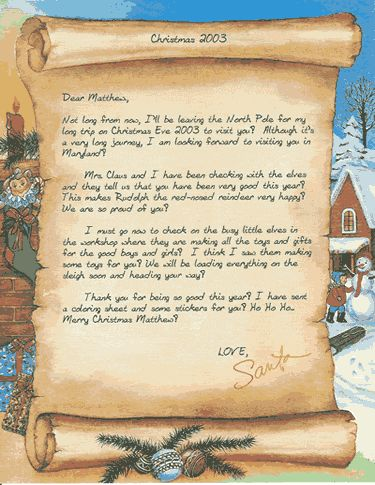 Letters From Santa Claus Template   Buy Santa Letters Contact Us Santa Claus History Christmas History ...