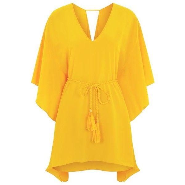 Lazul Kira Silk Tunic ($385) ❤ liked on Polyvore featuring tops, tunics, dresses, summer tunics, yellow top, yellow tunics, yellow silk top and summer tops
