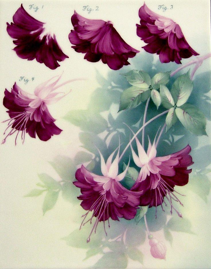 Painting fuchsias by Paula Collins.