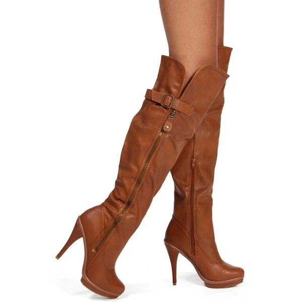 Cognac Promo Knee High Heel Boot19❤ Polyvore Liked On BoxeCQrdWE