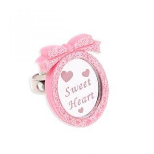 Pink Glitter Sweet Heart Pendant Silver Ring