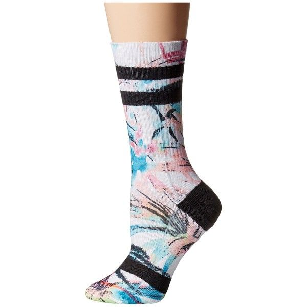 Stance Pool Days (Multi) Women's Crew Cut Socks ($14) ❤ liked on Polyvore featuring intimates, hosiery, socks, seamless socks, floral socks, crew socks, cuff socks and crew cut socks