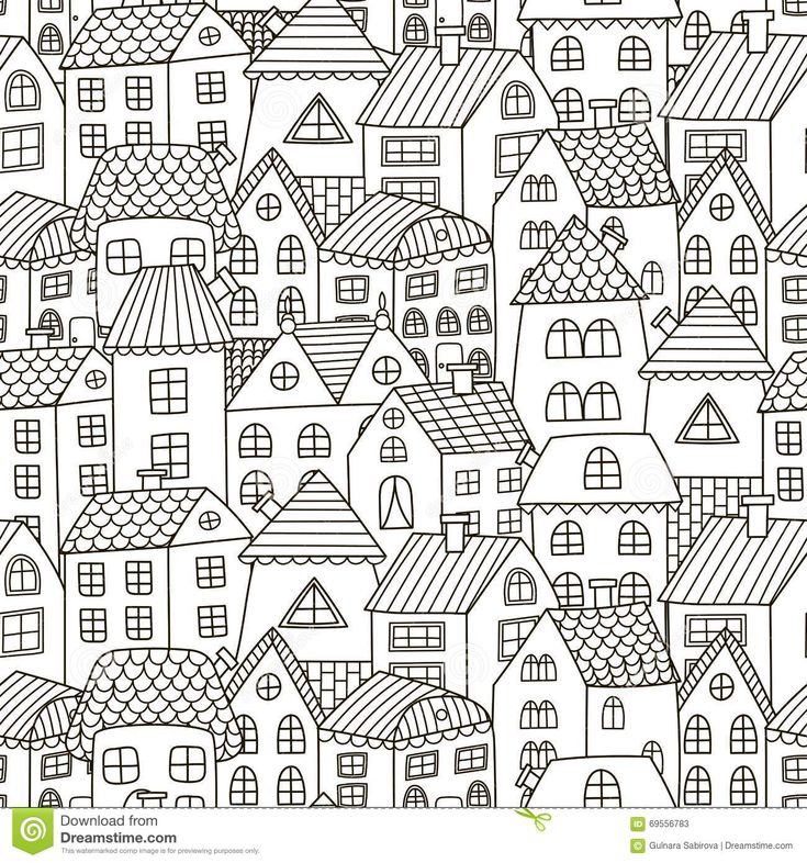 Doodle Houses Seamless Pattern. Black And White City Background Stock Vector - Image: 69556783