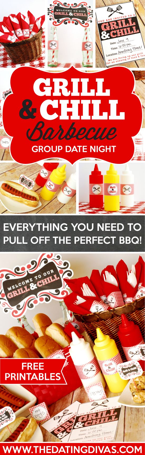 Everything you need to pull of the perfect BBQ for a group date night! Free printables! www.TheDatingDivas.com