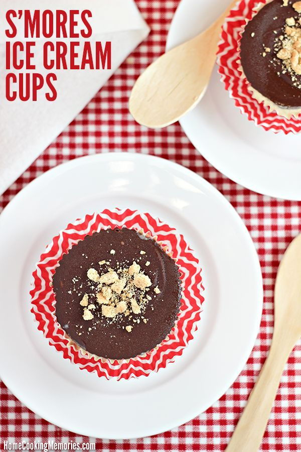 S'mores Ice Cream Cups - all the flavors of the traditional s'mores you love, but in a small cupcake-size frozen treat. Instructions include how to make easy marshmallow ice cream from @realsealdairy vanilla ice cream!