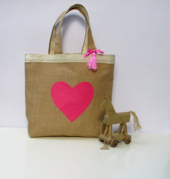 Handmade jute tote elegant bag applique pink heart by Apopsis