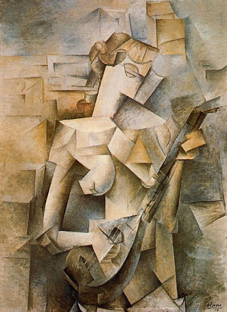 Girl with mandolin (Fanny Tellier)  Jeune fille a la mandoline (Fanny Tellier)     Artist: Pablo Picasso  Completion Date: 1910  Style: Analytical Cubism  Period: Cubist Period  Genre: genre painting  Technique: oil  Material: canvas  Dimensions: 100.3 x 73.6 cm  Gallery: Museum of Modern Art, New York, USA