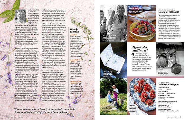 Voi Hyvin 6 | 2015 | Ylistys tomaatille | Villa Arcadio | toimittaja Helena-Saine Laitinen | kuvaaja Sanna Peurakoski  #vacation #italy #garda #lagodigarda #salo #italia #loma #italian #food #recipe #villaarcadio #hotel #luonnonlääkkeitä