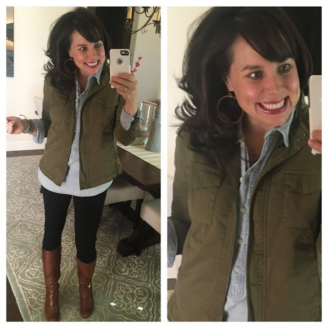 This is the 2nd look in my new Joanna Gaines Told Me To series!  Chambray shirt, military jacket, black ponte pants, cognac boots.  AND the wood hoop earrings that Joanna wears!  :)