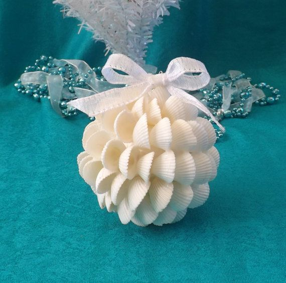 Ball Ornament made from White Clam Shells