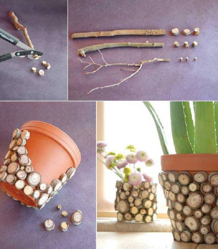 Wood Sticks Flower Pot Tutorial ,  Original #DIY #Flower #Pots