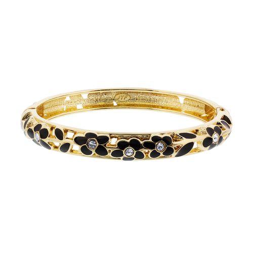 Gold Tone 8mm wide Black Enamel Floral Design Bangle Bracelet Size 2.4 #LEBR013