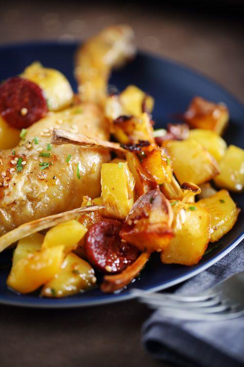 Cuisses de poulet au chorizo, panais et sirop d'érable