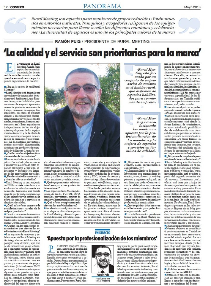 Conexo, revista de #eventos, entrevista al presidente de #RuralMeeting entrevista-President-Rural-Meeting.jpg (710×960)  http://ruralmeeting.cat/blog/conexo-revista-de-eventos-entrevista-al-presidente-de-rural-meeting/