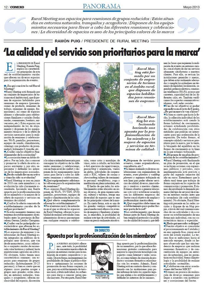 Conexo, revista de #eventos, entrevista al presidente de #RuralMeeting entrevista-President-Rural-Meeting.jpg (710×960)  http://ruralmeeting.cat/blog/conexo-revista-de-eventos-entrevista-al-presidente-de-rural-meeting/