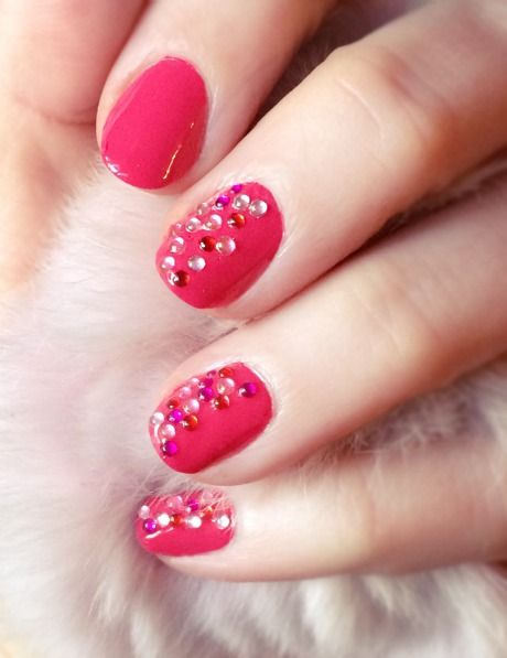 Pink Jeweled Nails