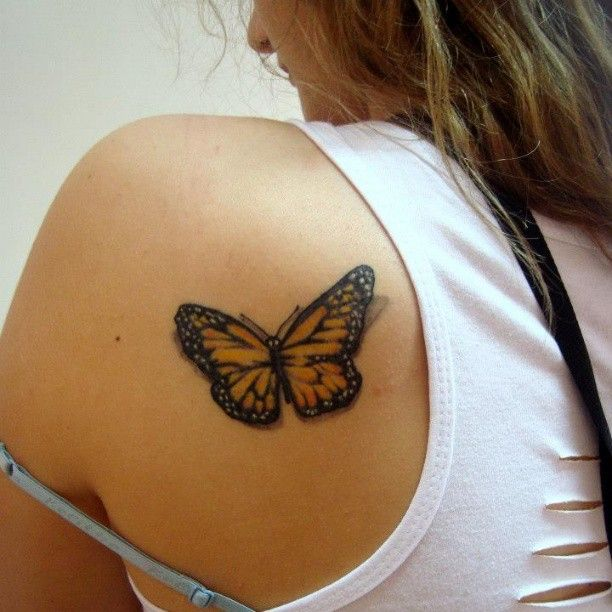 Great M.S. tattoo  Yellow Black Ink Butterfly Tattoo On Back Shoulder