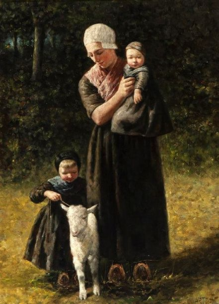 Mother With Children And Lamb (Artz)