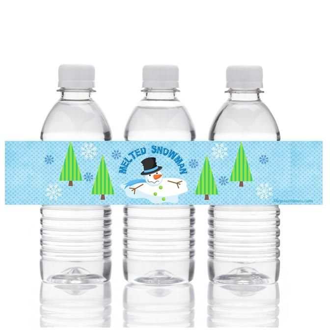 Melted Snowman Water Bottle Labels Christmas Pinterest
