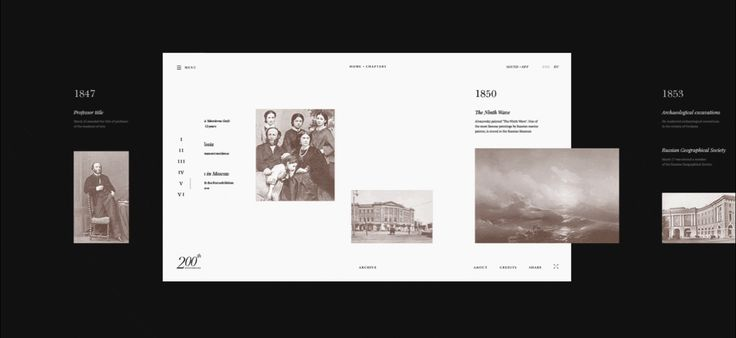 The concept of an interactive website in honor of the 200th anniversary of the birth of Ivan Aivazovsky. The format of storytelling includes biographical information, chronology, achievements and the artist's work.Концепт интерактивного сайта к 200-летию…