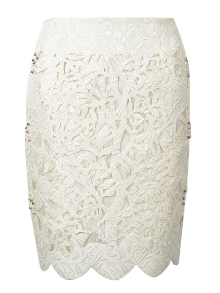 White Beaded Cut Out Jacquard Pencil Skirt,CutOut,Pencil Skirts