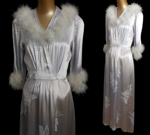 This is a beautiful vintage 40s 1940s silver gray liquid silk satin jacquard ankle length dressing gown or robe. Please take a look of the