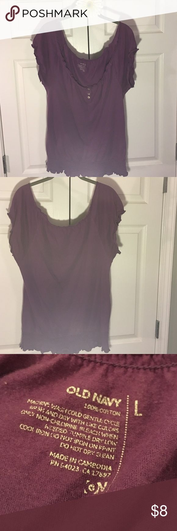 Plum Top Old Navy Large Short Sleeved Cotton Top. Banded elastic waist, elastic arms. Old Navy Large. Runs more like an XL. Crew Neck. Old Navy Tops Blouses