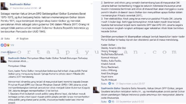 Kader Senior Golkar: Ahok Tak Pantas Jadi Gubernur DKI!  [portalpiyungan.com]Ketua Umum Dewan Pengurus Daerah (DPD) Sekretariat Bersama (Sekber) Golkar Sumatera Barat tahun 1970-1973 Saafroedin Bahar angkat suara perihal keikutsertaan Golkar sebagai salah satu partai pendukung Ahok di Pilkada DKI Jakarta 2017 mendatang melalui akun facebooknya Saafroedin Bahar Saafroedin menyatakan simpati kepada kader Golkar yang menolak pencalonan Ahok sebagai calon Gubernur di pilkada DKI Jakarta 2017. Ia…