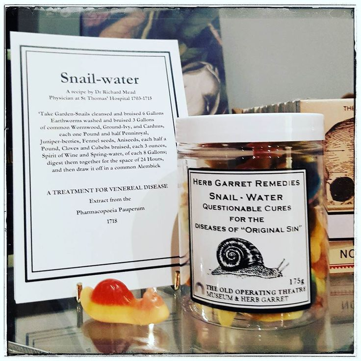 """A questionable cure for the disease of """"original sin"""": Snail-Water!!! Now you can buy it i  our shop!!! The candy-snails are delicious!!!! #liveauthentic #foodbeast #eeeeeats #eatfamous #feedfeed #dailyfoodfeed #instapassport #aroundtheworldpix #ig_masterpiece #campinassp #flashesofdelight #travelog #thisislondon #shutup_london #london_only  #focalmarked #museumshop #oldoperatingtheatre #oldoperatingtheatremuseum"""