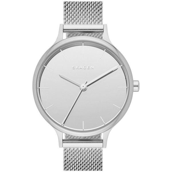 Skagen 'Anita' Mesh Strap Watch, 30mm ($145) ❤ liked on Polyvore featuring jewelry, watches, skagen wrist watch, mirrored jewelry, polish jewelry, skagen jewelry and skagen watches