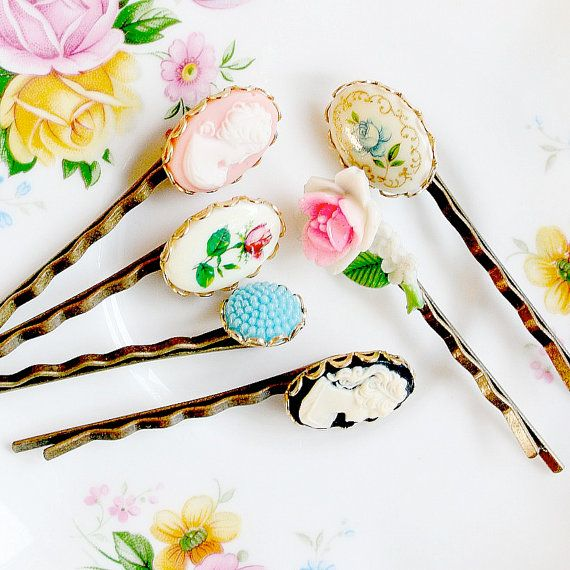 Vintage Cameo Bobby Pin Collection