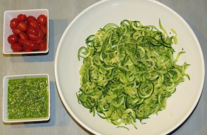 Zucchini Noodles (Zoodles) with Kale-Basil Pesto