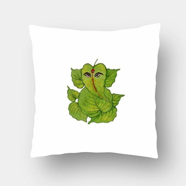 Leaf Ganesha Cushion Cover #cushion #pillow #cushioncover #paintedpillow #ganeshapillow #leafdesign
